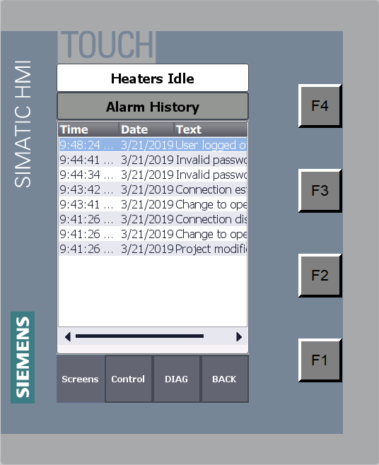 Alarm History Screen
